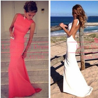 white & red mermaid prom dresses long bateau neckline ba...