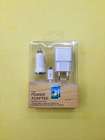 Wholesale 3 in sync cable A wall charger adapter A Mini car charger kit sets for iphone G Samsung Galaxy series with retail box sets
