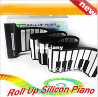 Wholesale USB Electronic Music Silicon Roll Up Standard Piano Keys Soft Keyboard Organ Midi Out toys With PC Free drop shipping