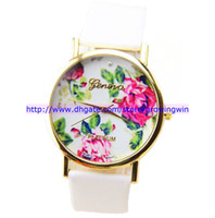 Wholesale 100pcs New Arrival fashion white geneva leather rose flower styles watch ladies women unisex quartz wrist dress wrist watch