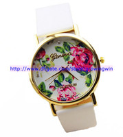Wholesale 2014 New Arrival fashion white geneva leather rose flower styles watch ladies women unisex quartz wrist dress watch