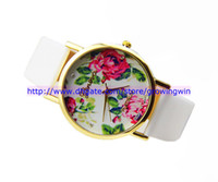 Wholesale Discount sale New PU Leather Strap Woman Geneva Watch Simple Elegant Plum Blossom Chrysanthemum Rose Lily Flowers Design watches