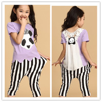 Wholesale lt For Big Girl gt Children s Casual Training Suit Girl s Cute Pandan Stripe Set Pros and cons Set Set S0416