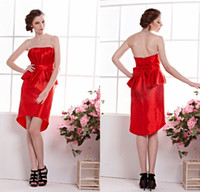 Reference Images Taffeta Strapless Modest Sheath Strapless Ruched Bow Peplum Asymmetrical Short Red Taffeta Sexy Cocktail Party Gown 2014 Custom Homecoming Dresses DL1311462