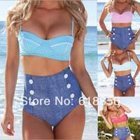 Wholesale 2014 New RETRO Swimsuit Swimwear Vintage Push Up Bandeau HIGH WAISTED Bikini Set Brand Biquini vs Bathing Suit