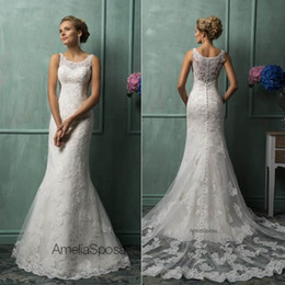 Wholesale 2014 Amelia Sposa Wedding Dresses With Scoop Sheer Back Covered Button Mermaid Court Train Lace New Hot Custom Glamorous Church Bridal Gowns