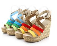 Women Wedge Denim 2014 Fashion platform wedges high-heeled Bohemia many cloth surface sandals women's shoes