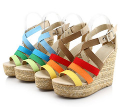 2014 Fashion platform wedges high-heeled Bohemia many cloth surface sandals women's shoes