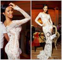 Wholesale 2014 Hot Vestidos Off Shoulder White Lace Nude Inner Pageant Dresses Long Sleeve Mermaid Appliques Sweep Train Evening Gowns Sheer Skirts