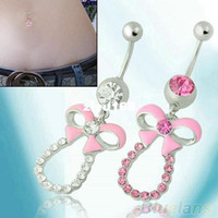 Wholesale Rhinestone Bowknot Surgical Steel Ball Button Piercing Belly Navel Ring Bar