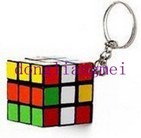 Wholesale magic Cube pc Polygonal Puzzle toy Keychain cube x3x3cm Puzzle Magic Game Toy Key Keychain Factory directly sales O J141