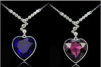 Pendant Necklaces heart of the ocean - Titanic Heart of the Ocean Heart Necklace Pendant Dark Blue Rhinestone Necklace Peach Heart Pendant Necklace
