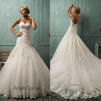 Sheath/Column Reference Images Sweetheart Amelia Sposa Sexy Backless Strapless Lace Wedding Dresses Court Train Appliqued Gorgeous Garden Bridal Gowns Arabic Free Shipping Cheap 2014