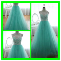 Reference Images Crew Tulle 2014 Pageant dresses teens A Line See Through Lace Hunter Crew Neckline Sleeveless Prom Dresses Floor Length Formal Evening Dresses Tulle