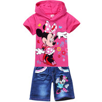 Girl Spring / Autumn Short Wholesale 2014 Summer Spring Kids Clothing Sets Minnie Mouse Children Girl Clothes Set Hooded T Shirt hoodies+jeans shorts Pants Suits