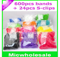 Wholesale DIY refill bands kids rainbow Loom colorful Rubber Band kids Charm Bracelet bands S clips