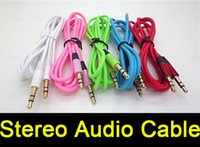 Wholesale 3 mm AUX AUXILIARY CORD Male to Male Stereo Audio Cable for iphone S Plus S Samsung Note5 Note4 S6 Edge