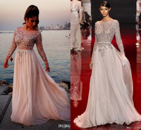 Wholesale 2014 Elie Saab long sleeves evening pageant dresses floor length bateau applique backless sequins A line prom gowns BO2258
