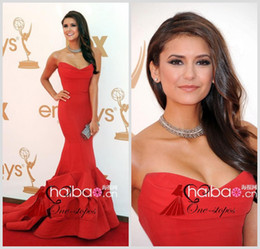 Wholesale 2014 The Emmy Awards Nina Dobrev Pageant Dresses Sweetheart Red Carpet Mermaid Pleats Formal Woman Party Celebrity Gowns