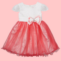 Wholesale Latest girls summer party dress bow ball dress lace fabric dance dress baby clothes T to T