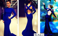 royal blue long sleeve evening dresses 2014 backless mermaid...