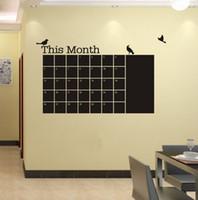 PVC blackboard - PVC Monthly Planner Birds Calendar Blackboard Wall Sticker Chalkboard Decal New