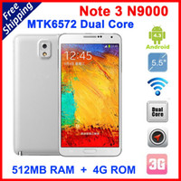 WCDMA Dual Core Android Dual Core MTK6572 Note 3 N9000 Leather back cover android 4.3 with 5.7 inch IPS Screen 1.3GHz Smartphone cell phone