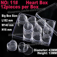 Wholesale 12pcs x13mm heart jewelry boxes plastic acrylic cosmetic nail art box cases storage container diy parts stones tools