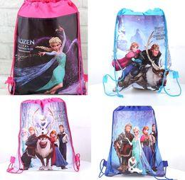Wholesale In Stock Drawstring Bags Cartoon Frozen Backpack Kids School Bag Sports Handbag Children Party Gift