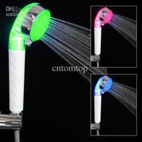 Wholesale Promotion Adjustable Mode LED Shower Head Sprinkler Temperature Sensor RGB Colors shower H4891