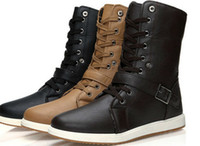 Wholesale Fashion New Men s Winter High top Army Combat Boots Lace Riveted Boots casual Shoes LS032