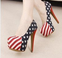 Wholesale Korean American flag high with high heels nightclub waterproof Taiwan Europe and the United States