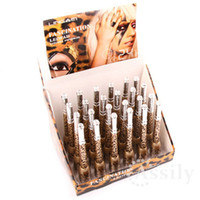 Waterproof Pencil Eyeliner 24 Pieces Lot drop ship Leopard Shell Waterproof Liquid Eye Liner Eyeliner Pen Makeup Cosmetic Black