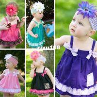 al por mayor volantes de pañales-Los niños de los bebés rizó los Bloomers del panal cubierta superior Dress + Pants + Headband Set libre del envío de la gota
