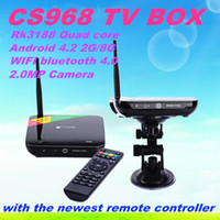 Wholesale CS968 Quad Core TV Box RK3188 Android Bluetooth XBMC Miracast RJ45 Media Player Built in MP Camera Mic G G TV Receiver