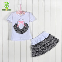 Wholesale 2014 summer super beautiful pink zebra leopard chiffon short sleeved T shirt cake skirt girls suits pc