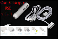Wholesale 10set Wholeasle in USB Car Charger Cable w Adapter for iPhone S for Samsung for Motorola Mobile phone Charger