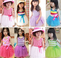 Wholesale Girl Summer Dresses Children Clothes Cotton Gauze Splicing Colorful Stripe Sundress