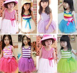 Wholesale Girl Summer Dresses Children Clothes Cotton Gauze Splicing Colorful Stripe Sundress