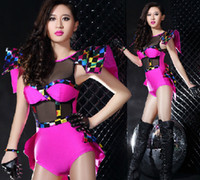 Wholesale New Arrival Sexy Singer Black Gauze Stitching Fluorescence Jumpsuits Show Clothing Party Dancer DS Costumes Hip Hop Nightclub Stage Wear