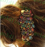 Wholesale New Arrival Peacock Hairpin Crystal Hair Clips Colorful Hair Jewelry Gorgeous LUCKY wind restoring ancient ways the peacock hairpin