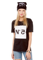 Cheap 2014 Special Design NO.5 Letter Printed Women T-shirts, Black Short Sleeve Round Neck Top Quality Punk Clothing HDY-124