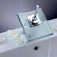 Wholesale Polished Chrome Glass Waterfall Kitchen Bathroom Basin Sink Faucet Mixer Taps