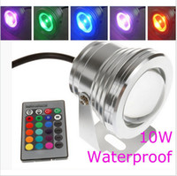 Wholesale 10W warm cool white RGB LED Pool Light V Underwater Lamp Waterproof IP68 Aquarium Lamp Fountain Lights With Keys Remote Controller