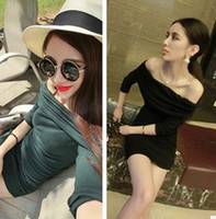 Casual Dresses Round Mini Sexy nightclub new spring clothing one word collar dress strapless dress