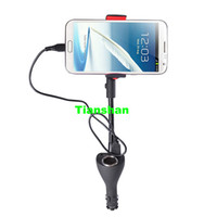 Wholesale Car Mobile Phone Holder Mount USB Car Charger Cigarette Plug For Samsung Galaxy S5 S4 I9500 S3 Note2 Note Nexus