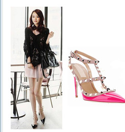 New Arrival Hot wome's square rivet pointed toe 11.5cm high-heeled shoes thin heel sandals