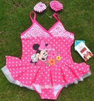 Boy Bikinis 3-6 Months Children's swimwear cute princess Minnie Mouse Siamese skirt swimsuit baby girls swimwear + Headband