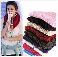 Wholesale Fashion Women Ladies Girls Warm Knit Neck Circle Wool Blend Cowl Snood Scarf Shawl Wrap