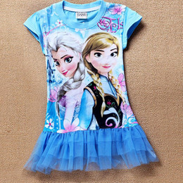 Wholesale 4 colors Can choose Years New Frozen Dress Elsa Tutu Girl Dresses Summer Casual Cartoon Dress Kid s Frozen Princess Dress